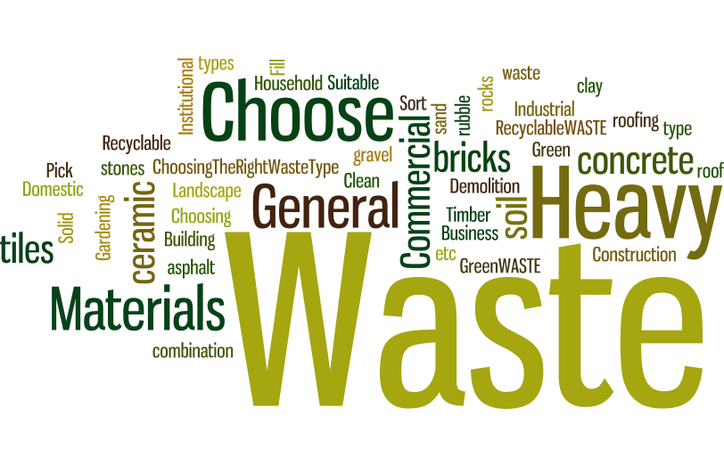 Skip Bin Waste Types Word Cloud