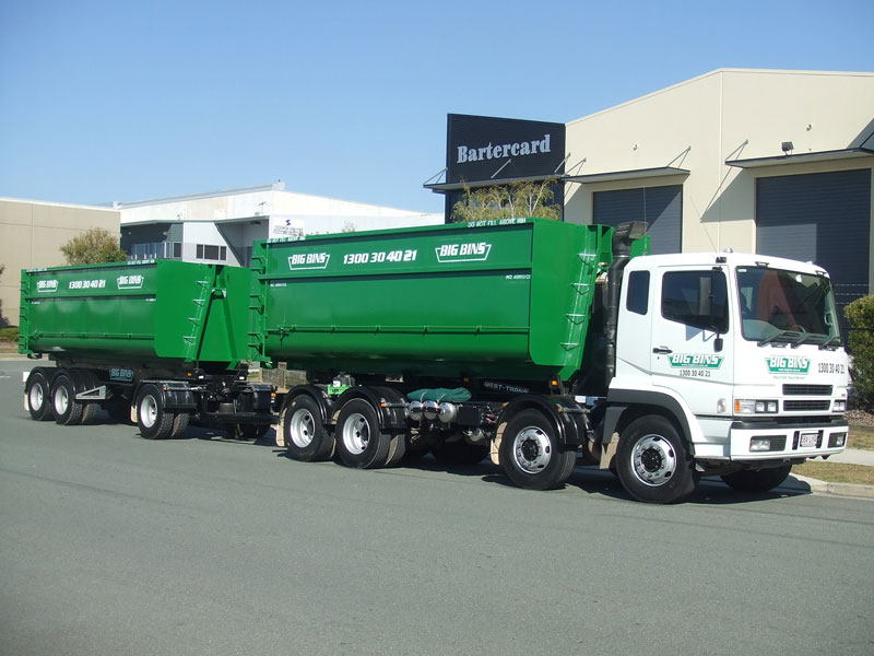 big bins truck with trailer